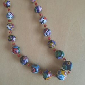 Vintage Boho Hippie Handmade Clay Bead Necklace